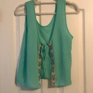 Turquoise open back top